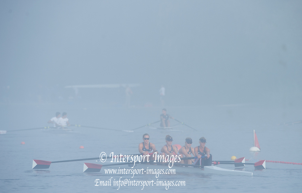 Hamburg. GERMANY.   USA JW4-. Misty, Foggy,  atmospheric, conditions, Friday, Morning training at the 2014 FISA Junior World rowing. Championships.  07:53:58  Friday  08/08/2014  [Mandatory Credit; Peter Spurrier/Intersport-images]