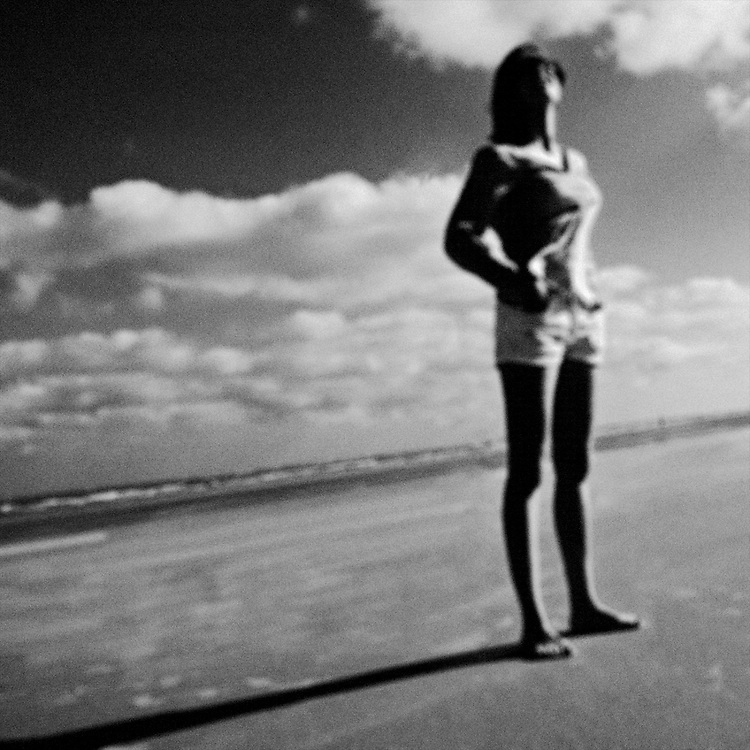 Portrait of a woman at the beach.
