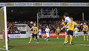 Manchester United's Radamel Falcao heads at goal during the The FA Cup match between Cambridge United and Manchester United at the R Costings Abbey Stadium, Cambridge, England on 23 January 2015. Photo by Phil Duncan.