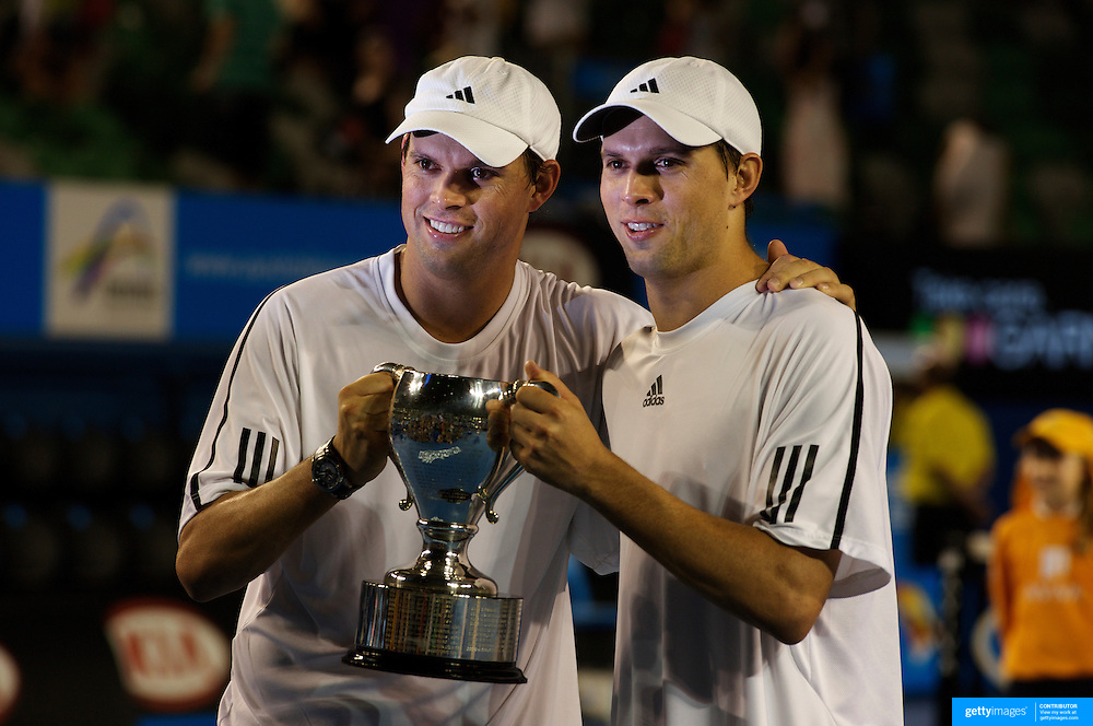 Bob and Mike Bryan, USA defeating Mark Knowles and Mahesh Bhupathi in the Men's Doubles Final at the Australian Tennis Open on January 31, 2009 in Melbourne, Australia. Photo Tim Clayton    .