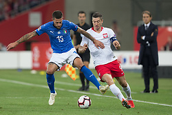 October 14, 2018 - Chorzow, Poland - Cristiano Biraghi (ITA), Robert Lewandowski (POL)   in action during the UEFA Nations League A group three match between Poland and Italy at Silesian Stadium on October 14, 2018 in Chorzow, Poland. (Credit Image: © Foto Olimpik/NurPhoto via ZUMA Press)
