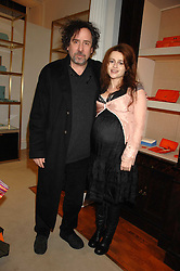 TIM BURTON and HELENA BONHAM-CARTER at a party to celebrate the launch of the book 'Long Way Down' by Ewan McGregor and Charley Boorman held at Smythson, 40 New Bond Street, London W1 on 19th November 2007,<br />