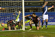 Bournemouth striker Glenn Murray scores the second goal during the The FA Cup third round match between Birmingham City and Bournemouth at St Andrews, Birmingham, England on 9 January 2016. Photo by Alan Franklin.