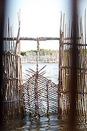 A traditional woven fish trap door in the Kosi Bay lakes
