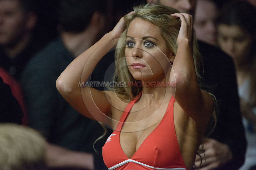 LONDON, ENGLAND, FEBRUARY 16, 2013: Carly Baker fixes her hair during UFC on Fuel TV 7: Barao vs. McDonald inside Wembley Arena in Wembley, London on Saturday, February 16, 2013 (© Martin McNeil)