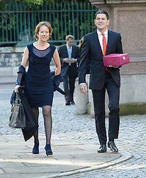 David Miliband and wife Louise arrive for the wedding of Wikipedia founder Jimmy Wales to Tony Blair's former diary secretary, Kate Garvey at Wesley's Chapel, City of  London, October 6, 2012. Photo by Fiona Hanson / i-Images.