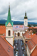 Saint Mark's Church from Lotrščak Tower in old town Gradec, Zagreb, Croatia