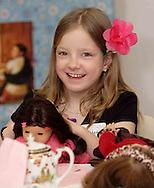 Krysten Haas, 10, who attends Ridgeville Christian School at the American Girl Tea Party, Saturday, January 27, 2007 in Waynesville's Mary L. Cook Library.