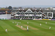 General view of play with Steve Davies of Somerset facing the bowling of Michael Clayton of Kent during the Specsavers County Champ Div 1 match between Somerset County Cricket Club and Kent County Cricket Club at the Cooper Associates County Ground, Taunton, United Kingdom on 7 April 2019.