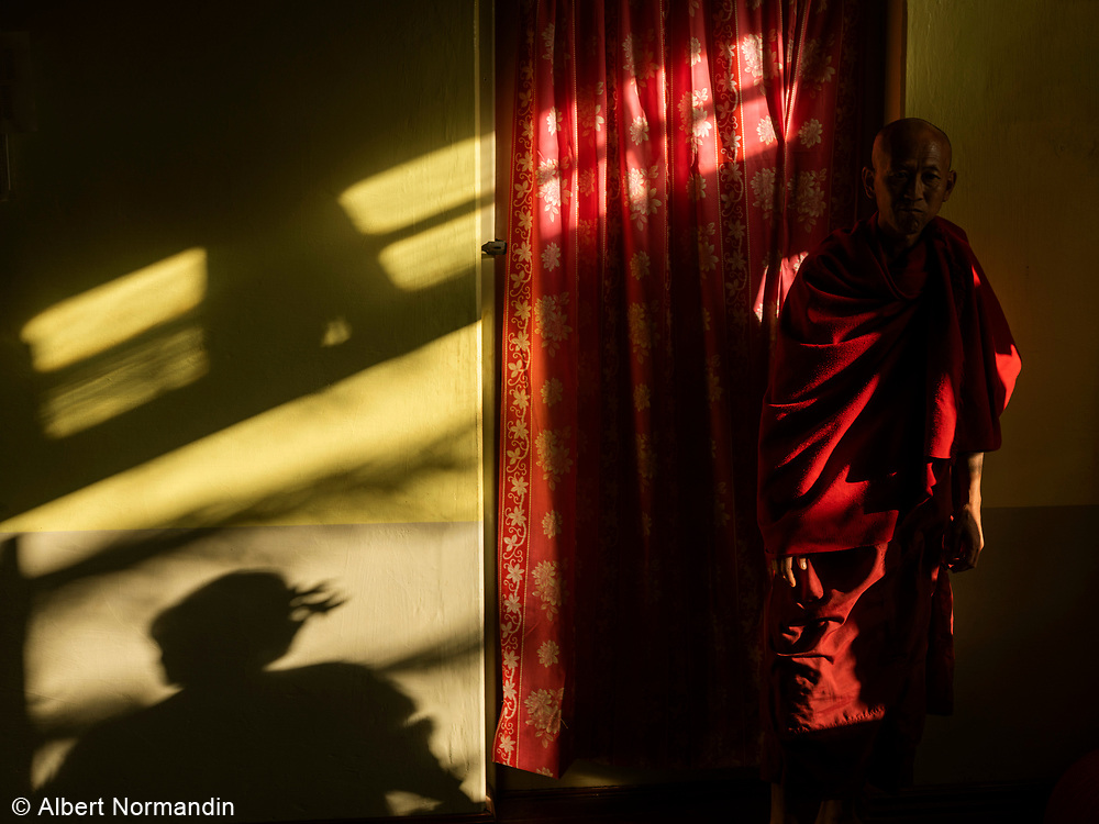 Monk in Shadows, Nyaung Shwe, Inle Lake, Myanmar