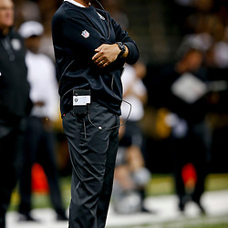 Aug 16, 2013; New Orleans, LA, USA; Oakland Raiders head coach Dennis Allen against the New Orleans Saints during the second quarter of a preseason game at the Mercedes-Benz Superdome. Mandatory Credit: Derick E. Hingle-USA TODAY Sports