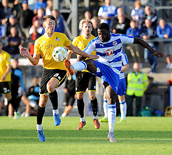 Ollie Clarke of Bristol Rovers challenges Reading's Hope Akpan - Mandatory by-line: Neil Brookman/JMP - 21/07/2015 - SPORT - FOOTBALL - Bristol,England - Memorial Stadium - Bristol Rovers v Reading - Pre-Season Friendly