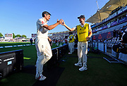 England win - Alastair Cook of England, who has announced his international retirement,  leaves the field and is congratulated after England win the test series with a match to spare during the 4th day of the 4th SpecSavers International Test Match 2018 match between England and India at the Ageas Bowl, Southampton, United Kingdom on 2 September 2018.