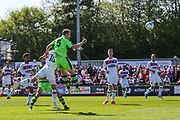 Forest Green Rovers Mark Ellis(5) heads the ball towards goal during the Vanarama National League Play Off second leg match between Forest Green Rovers and Dagenham and Redbridge at the New Lawn, Forest Green, United Kingdom on 7 May 2017. Photo by Shane Healey.