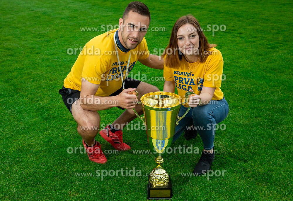 Milan Dzajic and Eva Globokar during celebration of NK Bravo, winning team in 2nd Slovenian Football League in season 2018/19 after they qualified to Prva Liga, on May 26th, 2019, in Stadium ZAK, Ljubljana, Slovenia. Photo by Vid Ponikvar / Sportida