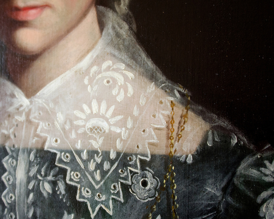 Detail of lace collar in a portrait, Woodlawn Museum, Ellsworth, Maine.