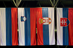 Flags of Russia, Slovenia, Serbia and Slovakia during handball match between Iceland and Slovenia in  3rd Round of Preliminary Round of 10th EHF European Handball Championship Serbia 2012, on January 20, 2012 in Millennium Center, Vrsac, Serbia. Slovenia defeated Iceland 34-32. (Photo By Vid Ponikvar / Sportida.com)