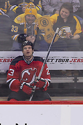 Jan 19; Newark, NJ, USA; Boston Bruins fans yell at New Jersey Devils right wing David Clarkson (23) during the third period at the Prudential Center.   The Bruins defeated the Devils 4-1.