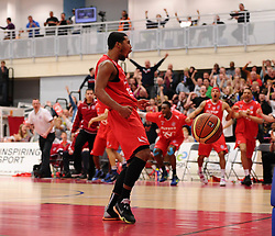 Bristol Flyers' Dwayne Lautier-Ogunleye celebrates his slam dunk along with his team mates and the Flyers fans   - Photo mandatory by-line: Joe Meredith/JMP - Mobile: 07966 386802 - 11/04/2015 - SPORT - Basketball - Bristol - SGS Wise Campus - Bristol Flyers v Glasgow Rocks - British Basketball League