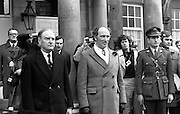 Canadian Prime Minister, Pierre Trudeau arrives in Dublin    (J17).14.03.1975.03.14.1975.3rd April 1975..Pierre Trudeau arrived today for a brief visit to Ireland. He was greeted by the Taoiseach Mr. Liam Cosgrave on his arrival at Dublin Airport..Photograph of Canadian Prime Minister Pierre Trudeau and An Taoiseach Liam Cosgrave as they pose for pictures in the grounds of Dublin Castle.