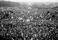 The massive turnout for the Ulster Vanguard Rally in the grounds of the N Ireland Parliament at Stormont on the outskirts of Belfast, N Ireland, on 28th March 1972. The rally to protest against the ntroduction of direct rule from London was addressed by Brian Faulkner and William Craig. 19720328008<br /> <br /> Copyright Image from Victor Patterson, 54 Dorchester Park, <br /> Belfast, UK, BT9 6RJ<br /> <br /> t1: +44 28 9066 1296 (from Rep of Ireland 048 9066 1296)<br /> t2: +44 28 9002 2446 (from Rep of Ireland 048 9002 2446)<br /> m: +44 7802 353836<br /> <br /> victorpatterson@me.com<br /> victorpattersonbelfast@gmail.com<br /> <br /> Please see my Terms and Conditions of Use at victorpatterson.com. It is IMPORTANT that you familiarise yourself with them.<br /> <br /> Images used on the Internet incur an additional cost and must be visibly watermarked i.e. ©Victor Patterson within the body of the image and copyright metadata must not be deleted. Images used on the Internet have a size restriction of 4kbs and are chargeable at rates available at victorpatterson.com.<br /> <br /> This image is available only for the use of the download recipient i.e. television station, newspaper, magazine, book publisher, etc, and must not be passed on to any third party. It is also downloaded on condition that each and every usage is notified within 7 days to victorpatterson@me.com<br /> <br /> The right of Victor Patterson (or the named photographer) to be identified as the author is asserted in accordance with The Copyright Designs And Patents Act (1988). All moral rights are asserted.