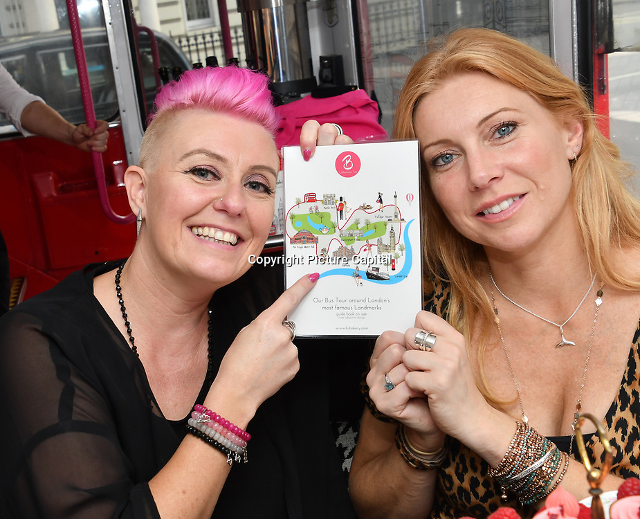 Lisa J Allen and Lynne Lambourne hosts Brigits Bakery host their Pink Ribbon Afternoon Tea in aid of the Pink Ribbon Foundation, London, UK. 16 October 2018.