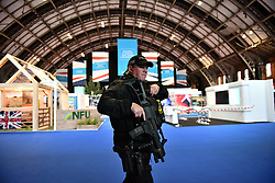 © Licensed to London News Pictures. 30/09/2017. Manchester, UK. Heightened security around the conference venue in Manchester ahead of the Conservative Party Conference which starts on Sunday at Manchester Central. There have been conflicts within the conservative party and government over the UK's approach to Brexit, which is expected to feature heavily at this years event. Photo credit: Ben Cawthra/LNP
