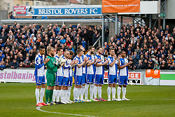 A one minute's applause is held in memory of Ben Hiscox, the local footballer who died after a freak accident in a game last Saturday - Photo mandatory by-line: Rogan Thomson/JMP - 07966 386802 - 03/04/2015 - SPORT - FOOTBALL - Bristol, England - Memorial Stadium - Bristol Rovers v Chester - Vanarama Conference Premier.