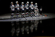 KELOWNA, CANADA - MARCH 10:  Starting Lineup at the Kelowna Rockets game on March 10, 2017 at Prospera Place in Kelowna, British Columbia, Canada.  (Photo By Cindy Rogers/Nyasa Photography,  *** Local Caption ***  Reid Gardiner #23 of the Kelowna Rockets, Calvin Thurkauf #27 of the Kelowna Rockets, Nick Merkley #10 of the Kelowna Rockets, Cal Foote #25 of the Kelowna Rockets, Gordie Ballhorn #4 of the Kelowna Rockets, Brodan Salmond #31 of the Kelowna Rockets