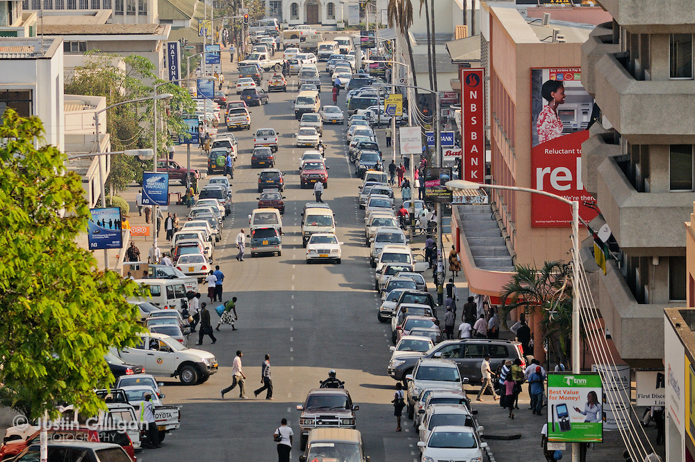 Busy street at Blantyre, a major city of Malawi, Malawi.