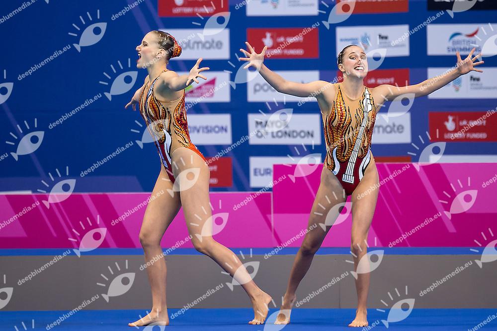 KRAUS Sascia  SUI GIGER Sophie  SUI<br /> London, Queen Elizabeth II Olympic Park Pool <br /> LEN 2016 European Aquatics Elite Championships <br /> Synchronised Swimming Synchro Duet Tech<br /> Day 06 13-05-2016<br /> Photo Giorgio Scala/Deepbluemedia/Insidefoto