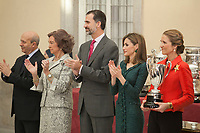 King Felipe VI of Spain, Queen Letizia of Spain, Queen Sofia of Spain and Enfant Elena of Spain attend the 2013 Sports National Awards ceremony at El Pardo palace in Madrid, Spain. December 03, 2014. (ALTERPHOTOS/Victor Blanco)