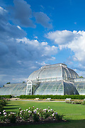 The iconic Temperate House exhibiting over 10,000 plants in the world's biggest sculptural Victorian glasshouse at Royal Botanic Gardens at Kew, England, UK