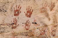 Hand print pictographs in red pigment around Monarch Cave ruins on Comb Ridge; Cedar Mesa, UT