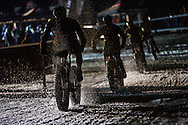 Riders enjoy the wet conditions during stage 4 of the first Snow Epic, the eliminator course on the Klostermatte ski slopes near Engelberg, in the heart of the Swiss Alps, Switzerland on the 16th January 2015<br /> <br /> Photo by:  Nick Muzik / Snow Epic / SPORTZPICS