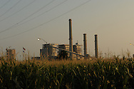Electrical Generation Plant in Fort Gibson, near Muskogee. Cornfield in foreground.