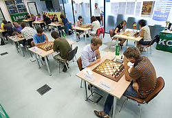 Slovenian Grandmaster Lenic Luka and Matej Sebenik in action during the National Chess Championships in Ljubljana on August 9, 2010.  (Photo by Vid Ponikvar / Sportida)