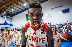 Bona Adem of Turkey  celebrates after winning during basketball match between National teams of Turkey and Slovenia in the SemiFinal of FIBA U18 European Championship 2019, on August 3, 2019 in Nea Ionia Hall, Volos, Greece. Photo by Vid Ponikvar / Sportida