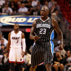 March 3, 2011; Miami, FL, USA; Orlando Magic shooting guard Jason Richardson (23) reacts after hitting a shot during the fourth quarter against the Miami Heat at the American Airlines Arena. The Magic defeated the Heat 99-96.    Mandatory Credit: Derick E. Hingle