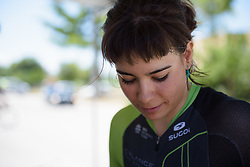 Sheyla Gutierrez prepares for Stage 5 of the Giro Rosa - a 12.7 km individual time trial, starting and finishing in Sant'Elpido A Mare on July 4, 2017, in Fermo, Italy. (Photo by Sean Robinson/Velofocus.com)