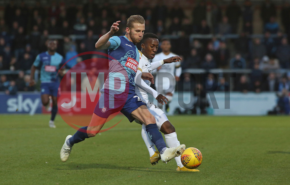 Siriki Dembele of Peterborough United in action with Jason McCarthy of Wycombe Wanderers - Mandatory by-line: Joe Dent/JMP - 03/11/2018 - FOOTBALL - Adam's Park - High Wycombe, England - Wycombe Wanderers v Peterborough United - Sky Bet League One