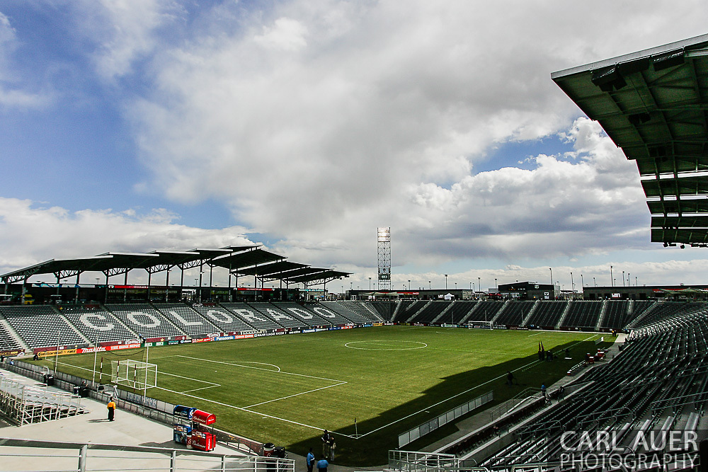 March 30th, 2013 Commerce City, CO - A general view of the pitch at Dick's Sporting Goods Park prior to the start of the MLS match between the Portland Timbers and the Colorado Rapids in Commerce City, CO