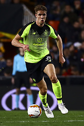 February 21, 2019 - Valencia, Spain - Kristoffer Ajer of Celtic FC  during round of 32 Second leg of UEFA Europa league  match between Valencia CF vs Celtic at Mestalla Stadium on February 21, 2019. (Photo by Jose Miguel Fernandez/NurPhoto) (Credit Image: © Jose Miguel Fernandez/NurPhoto via ZUMA Press)