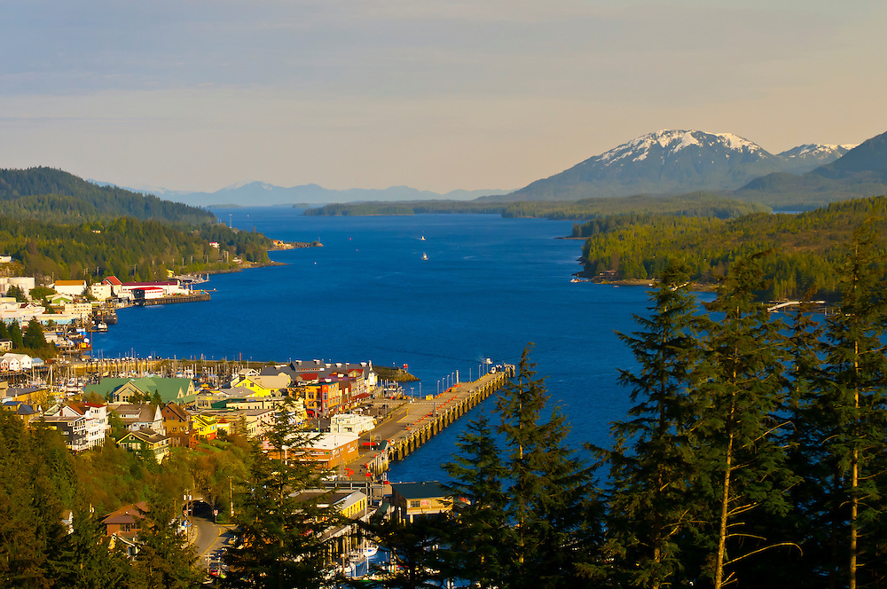 Overview of Ketchikan (and the Tongass Narrows), Southeast Alaska USA