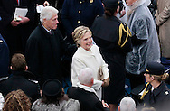 Former president Bill Clinton and Hillary Clint after Donald Trump takes the oath of office for the presidency of the United States on January 20,2017<br /> <br /> Photo by Dennis Brack