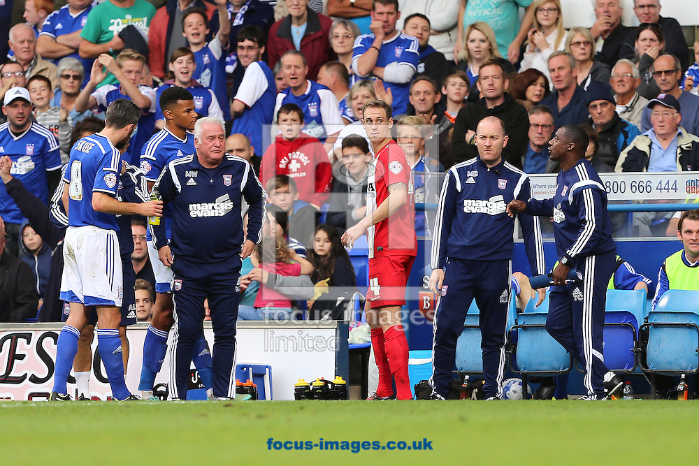 Matthew Kilgallon of Blackburn Rovers walks away after being shown a red card for a foul on Conor Sammon during the Sky Bet Championship match at Portman Road, Ipswich<br /> Picture by Richard Calver/Focus Images Ltd +447792 981244<br /> 18/10/2014