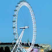 Millenium Wheel and Thames River, London, taken from Hungerford Bridge between Embankment and Waterloo