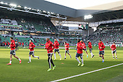 Manchester United players warm up during the Europa League match between Saint-Etienne and Manchester United at Stade Geoffroy Guichard, Saint-Etienne, France on 22 February 2017. Photo by Phil Duncan.