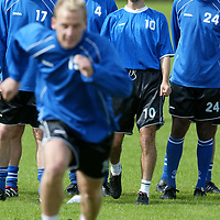 St Johnstone training...16.08.02<br />Having a laugh at the expense of Marc McCulloch during training this morning, from left, Ryan Stevenson, John Robertson, Paul Hartley and Manny Panther.<br /><br />See story by Gordon Bannerman Tel 01738 553978<br /><br />Picture by Graeme Hart.<br />Copyright Perthshire Picture Agency<br />Tel: 01738 623350  Mobile: 07990 594431