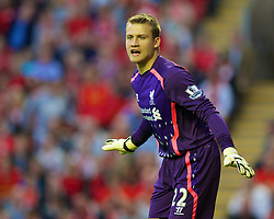 27.08.2013, Anfield, Liverpool, ENG, League Cup, FC Liverpool vs Notts County FC, 2. Runde, im Bild Liverpool's goalkeeper Simon Mignolet in action against Notts County during the English League Cup 2nd round match between Liverpool FC and Notts County FC, at Anfield, Liverpool, Great Britain on 2013/08/27. EXPA Pictures © 2013, PhotoCredit: EXPA/ Propagandaphoto/ David Rawcliffe<br /> <br /> ***** ATTENTION - OUT OF ENG, GBR, UK *****
